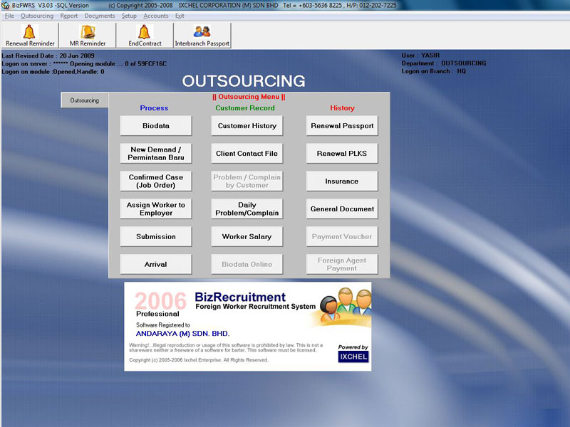foreign worker management system software
